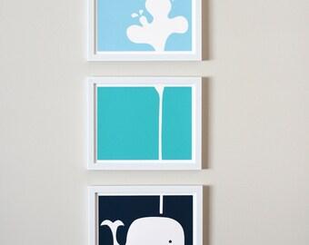 """Spouting Whale Nursery Art Prints (8x10"""" Panels)"""