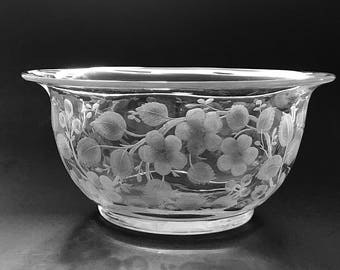 Decorative Etched Glass Bowl Glass Serving Bowl Wild Roses