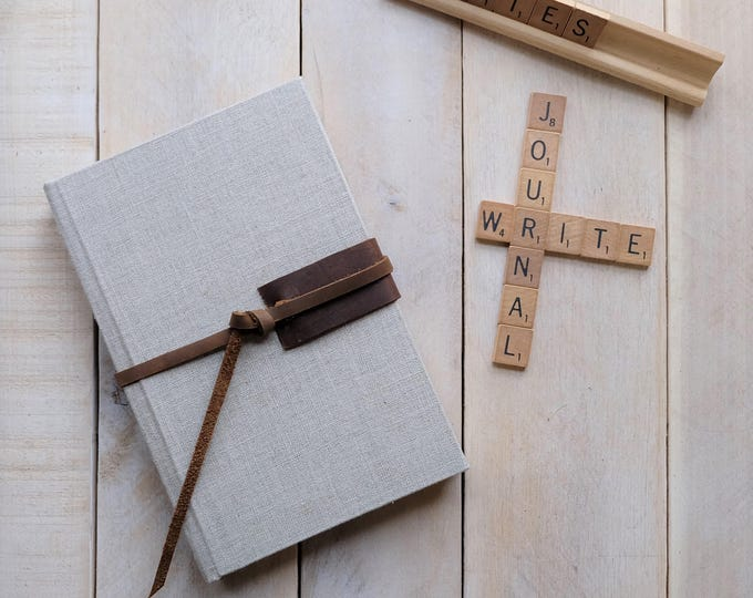 Linen and Leather Journal or Sketchbook in Natural Linen