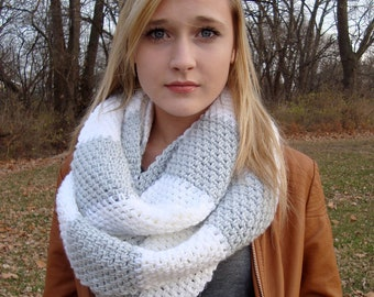 Instant Download - CROCHET SCARF PATTERN Rugby Stripe Circle Scarf