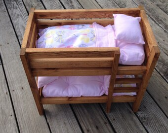 Doll Bunk Bed with bedding - MADE TO ORDER