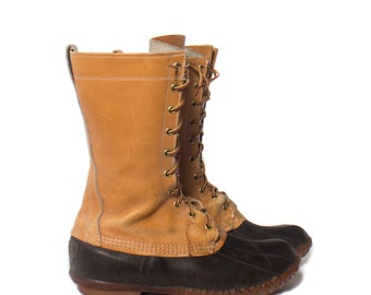 10 M | Men's Vintage LL Bean Boots Tall Duck Boots Leather Winter Rain Boots