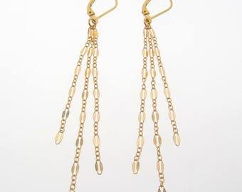 Pompon long boucles d'oreilles, boucles d'oreilles Cascade sur le dos du levier, rempli d'or ou argent
