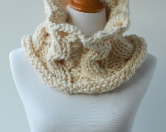 Chunky infinity cowl scarf ~ The Whidbey ~ Cream