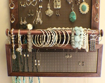 ON SALE Classic Dark Cherry and Dark Bronze Wall Mounted Jewelry Organizer with a Bracelet Bar and Stud Earring Holder