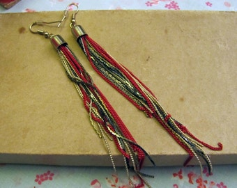 Colored Chain  Earrings - Khaki,Red,Yellow and Grey