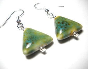 Blue Ceramic Triangle Earrings