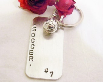 Soccer key chain, hand stamped, says soccer, players number, soccer ball charm, gift for soccer player, soccer player gift