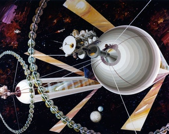 Exterior view Cylindrical Space Habitat - 1970s NASA Ilustration