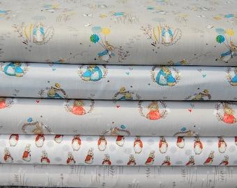 Beatrix Potter Peter Rabbit, Mrs Rabbit & Flopsy Cotton Fat Quarter - Peter and New Designs Back in Stock!