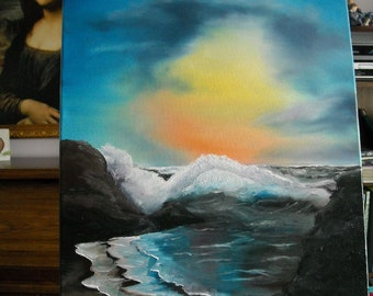 Beautiful original ocean sunset oil painting 16 x 20 inches On stretched canvas- signed