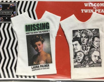 """pack of two t-shirts """"Twin Peaks"""" theme for Barbie / poppy parker / 1:6 / blythe"""