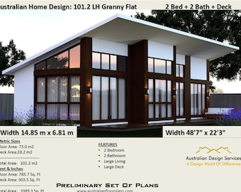 101.2 m2 or 1089 sq foot - Australian 2 Bed + 2 Bath +  Home Plans For Sale /  Granny Flat Design/ download in metric or feet and inches