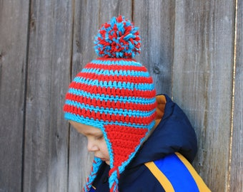 Toddler's bright red and turquoise striped hat with pom pom and ear flaps! Crochet