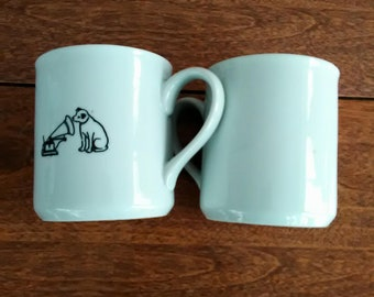 RCA White Coffee Cups with Nipper and Victrola Logo on Front
