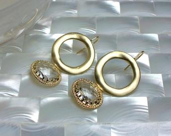 Gold Earrings, Dangle Earrings, Crystal Clear Drop earrings, Cubic Zirconia Earrings, Fashion Earrings, Modern Jewelry