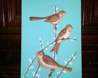 Birds Turquoise Painting on Recycled Wood
