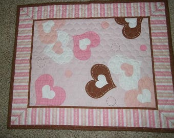 Baby Quilt - Baby Girl Pink Hearts