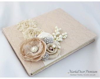 Large 9x12'' Guest Book Wedding Lace Guest Book Custom Bridal Flower Birthday Book Signature Brooch Guest Book in Tan, Champagne and Ivory