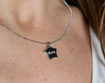 Silver necklace, with customizable medal. BYRON Pendant-Handmade