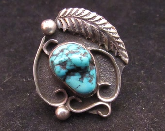 Sterling Silver Turquoise Native American Style Turquoise Ring (0009)