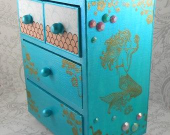 Mermaid Metallic Blue and Gold Stash Jewelry Box