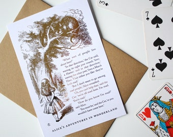 Alice in Wonderland Card - We're all mad here - Cheshire Cat