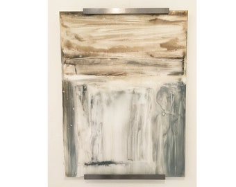 Contemporary Abstract Painting Original Wall Art Neutral Earth tones on plexiglass with Steel