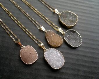 Oval Druzy Necklace Druzy Pendant Druzy Stone Druzy Jewelry Natural Color Druzy Boho Stone Necklace Gold Edged Druzy Jewelry Gift for Her