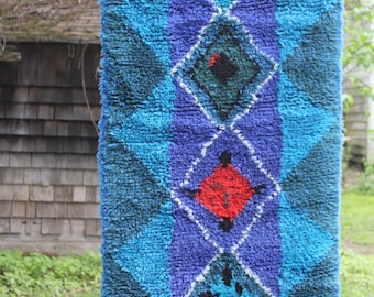 """Vintage hand made wool wall hanging """"Ryijy"""" """"Rya Rug""""  from Finland"""