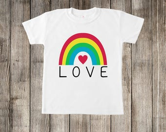 Love Rainbow Little Kids T-shirt or Baby Onesie