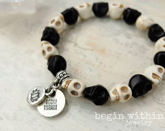 Skull Bracelet | Black and White Stackable Bracelet | Day of the Dead Bracelet | Skull Jewelry for Women