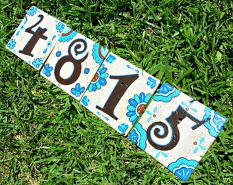MEXICO address house numbers BLUE & BROWN talavera style