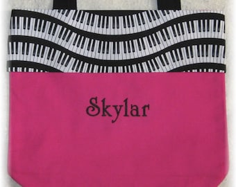 Piano personalized music lesson book bag HOT PINK keyboard canvas student birthday recital kids children musician gift idea