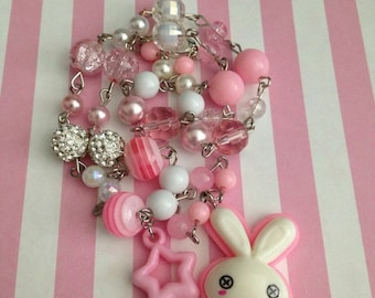 Dead Bunny // Pink // Beaded Necklace