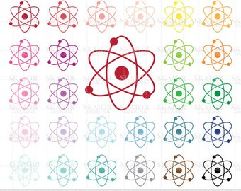 Atom Clipart Atom Clip Art Rainbow Atom Clipart Science Clipart Scrapbooking Atom Planner Sticker Clipart Physics Clipart Chemistry Clipart