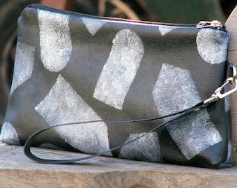 Women's Leather Wristlet Pouch - Lolita -  Silver Tags on Black