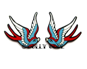 Swallow earrings in Blue and Red Tattoo Style by Dolly Cool
