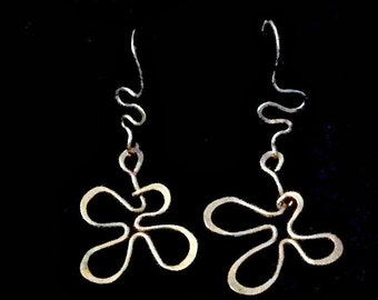 Sterling Dangle Earrings -  Handmade Sterling SIlver Flowers and Tendrils with French Hooks - Unique Gift Mothers Day