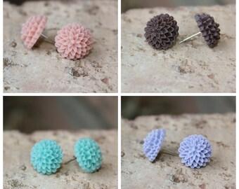 CUTE SERIES - Small Dahlia 14mm Earrings . . . Buy 3 Get 1 FREE . . . Small Earrings, Cabochon Earrings, Surgical Steel