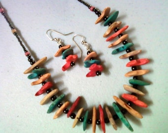 Coconut Chip Necklace and Earrings (0785)