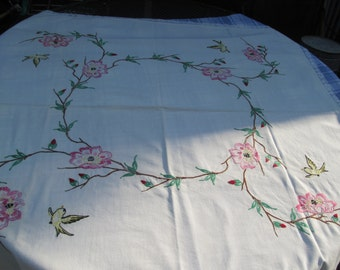 Vintage  Embroidered  Table Cloth - Cover  42'' x 48''  Chabby cottage chic