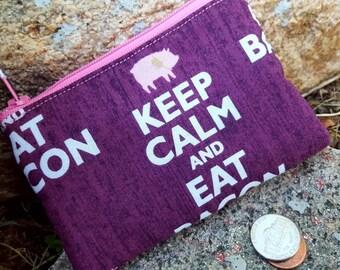 Bacon Coin Purse, Pig Zipper Bag, Bacon Change Purse, Pig Earbud Case