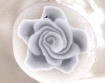 White Rose Cane, Polymer Clay Flower Cane, Grey Millefiore, Raw Unbaked