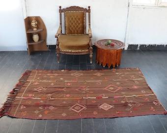 Kilim Rug, Vintage Turkish Kilim, Handwoven Kilim Rug, 4 x 6.6 Feet, FREE SHIPPING Vintage Area Kilim Rug, Bohemian Kilim Rug, No 1701