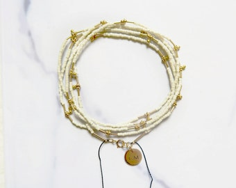 Delica long glass Miyuki beads and gold drops Necklace/Bracelet - CREAM WHITE
