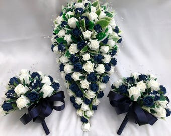 Artificial Wedding Flowers, Brides Teardrop Bouquet with 2 Bridesmaids Posies, Ivory and Navy Blue Roses