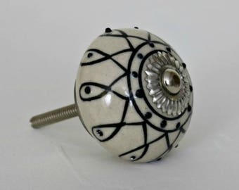 Ceramic Cabinet Knob with a Black Pattern