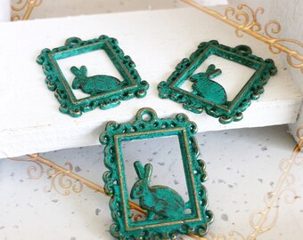 Handpainted Verdigris Patina Rabbit On A Frame Metal Charms (18058) - 24x18mm