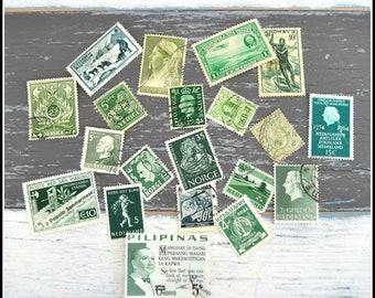 Vintage Cancelled Used International Postage Stamps - Green Stamps - Green Postage Stamps